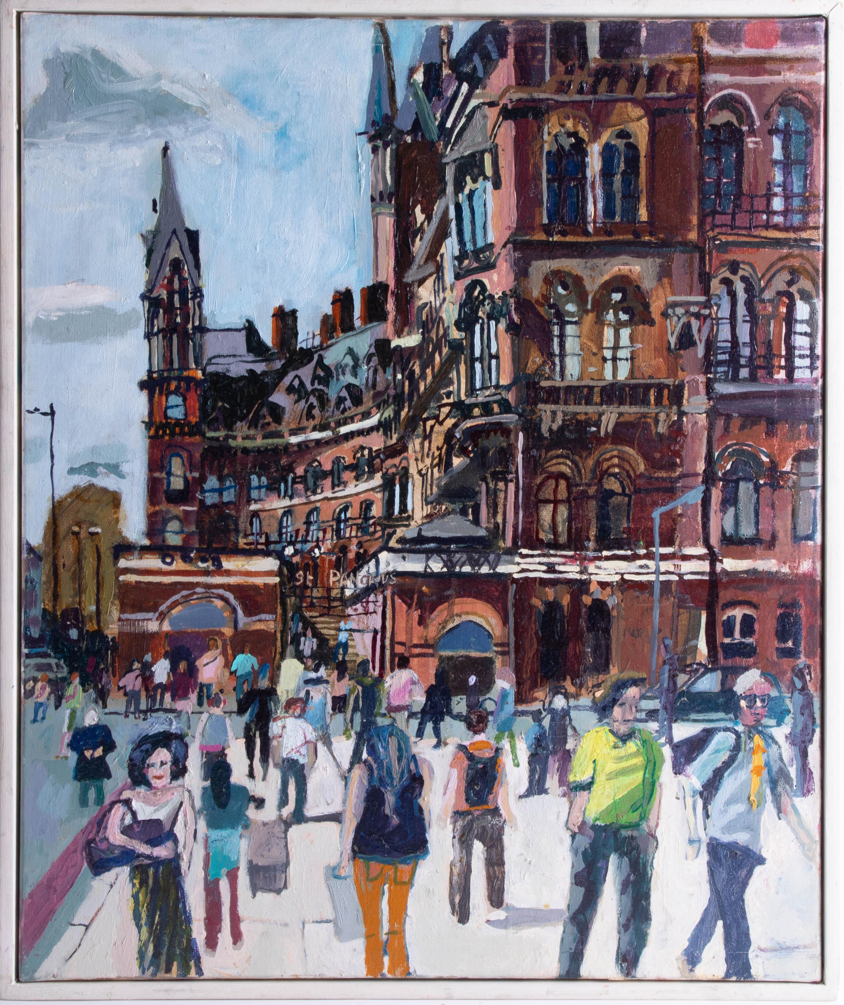 Lot 18 - Nicholas Borden, oil on canvas 'Kings Cross, St. Pancras, London', 60cm x 50cm, framed, signed on