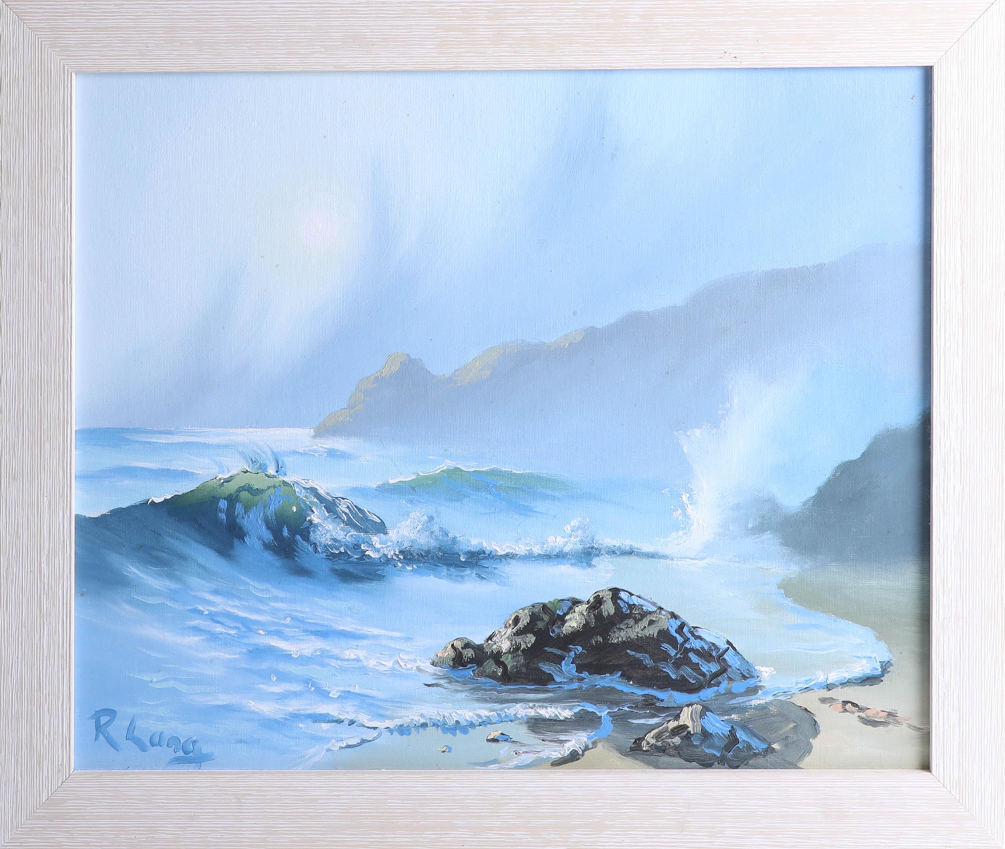 Lot 013 - Roy Lang, 3 signed Seascapes, 40cm x 50cm, framed. Roy Land, (Cornish born) was voted artist of
