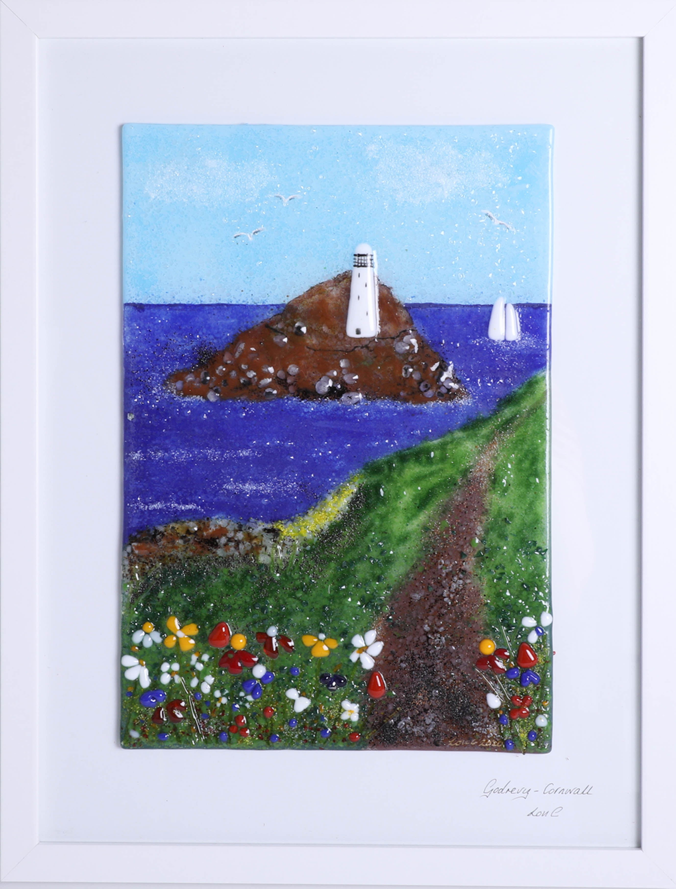 Lot 008 - Lou from Lou C fused glass, original glass work, titled 'Godrevy, Cornwall' 2020, titled and signed.