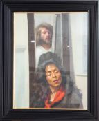 Robert Lenkiewicz (1941-2002) 'Painter with Myriam' oil on canvas, framed and glazed, image size