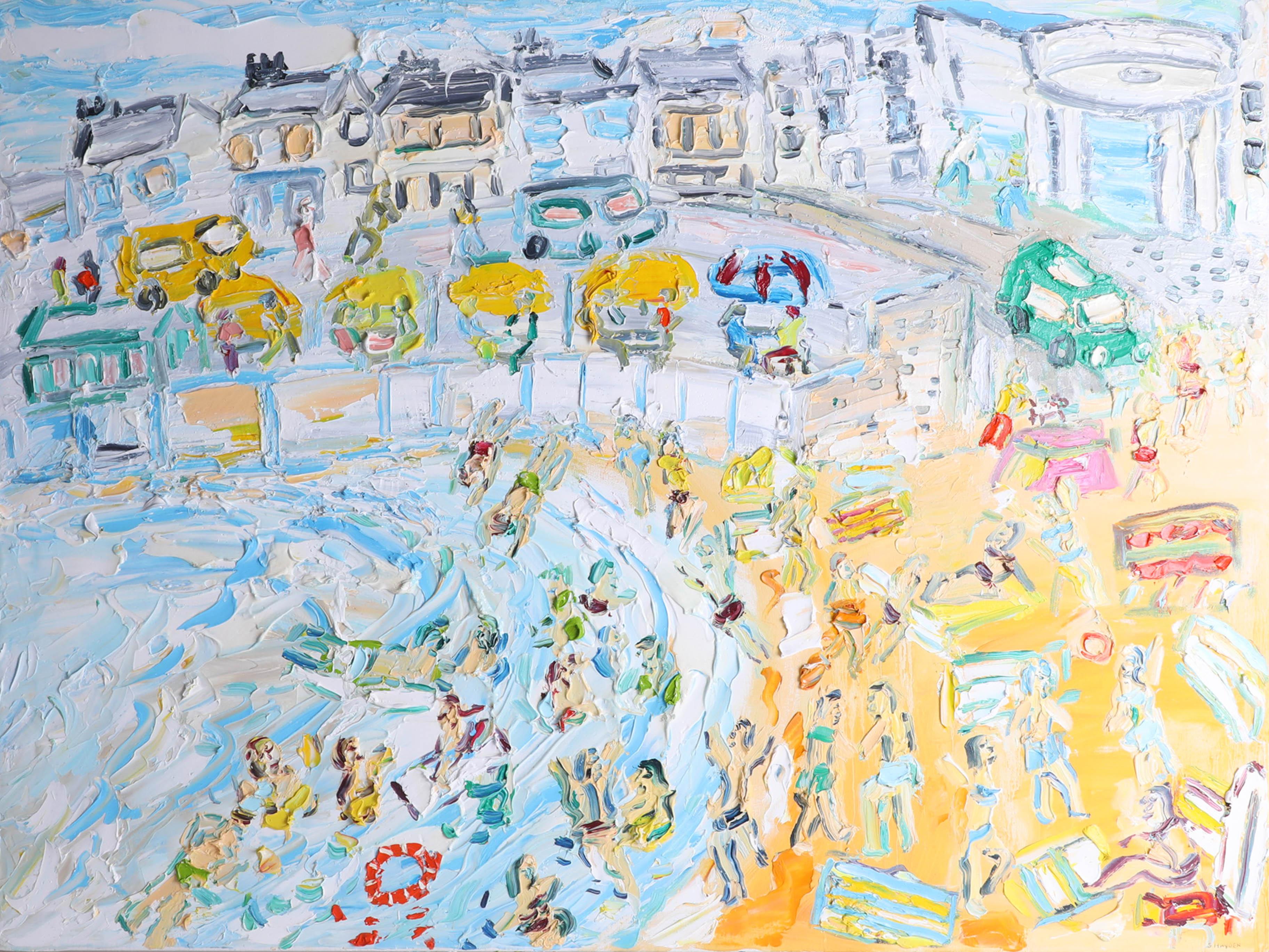 Lot 034 - Sean Hayden, oil on canvas 'Porthmeor Beach, St Ives' 2016, framed, 76cm x 101cm.