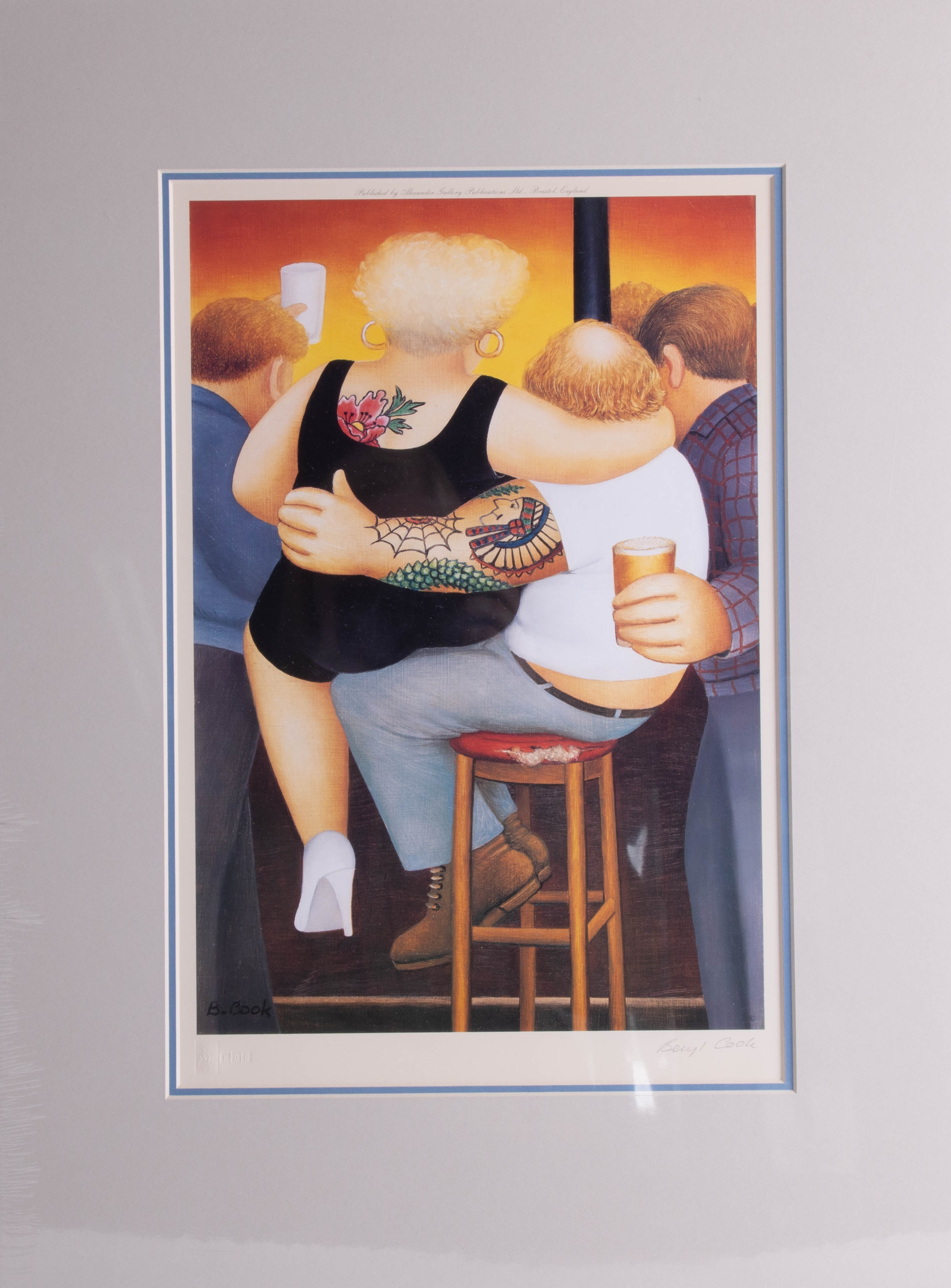 Lot 027 - Beryl Cook (1926-2008), 'Two on a Stool', signed stamped edition of 850, published by Alexander