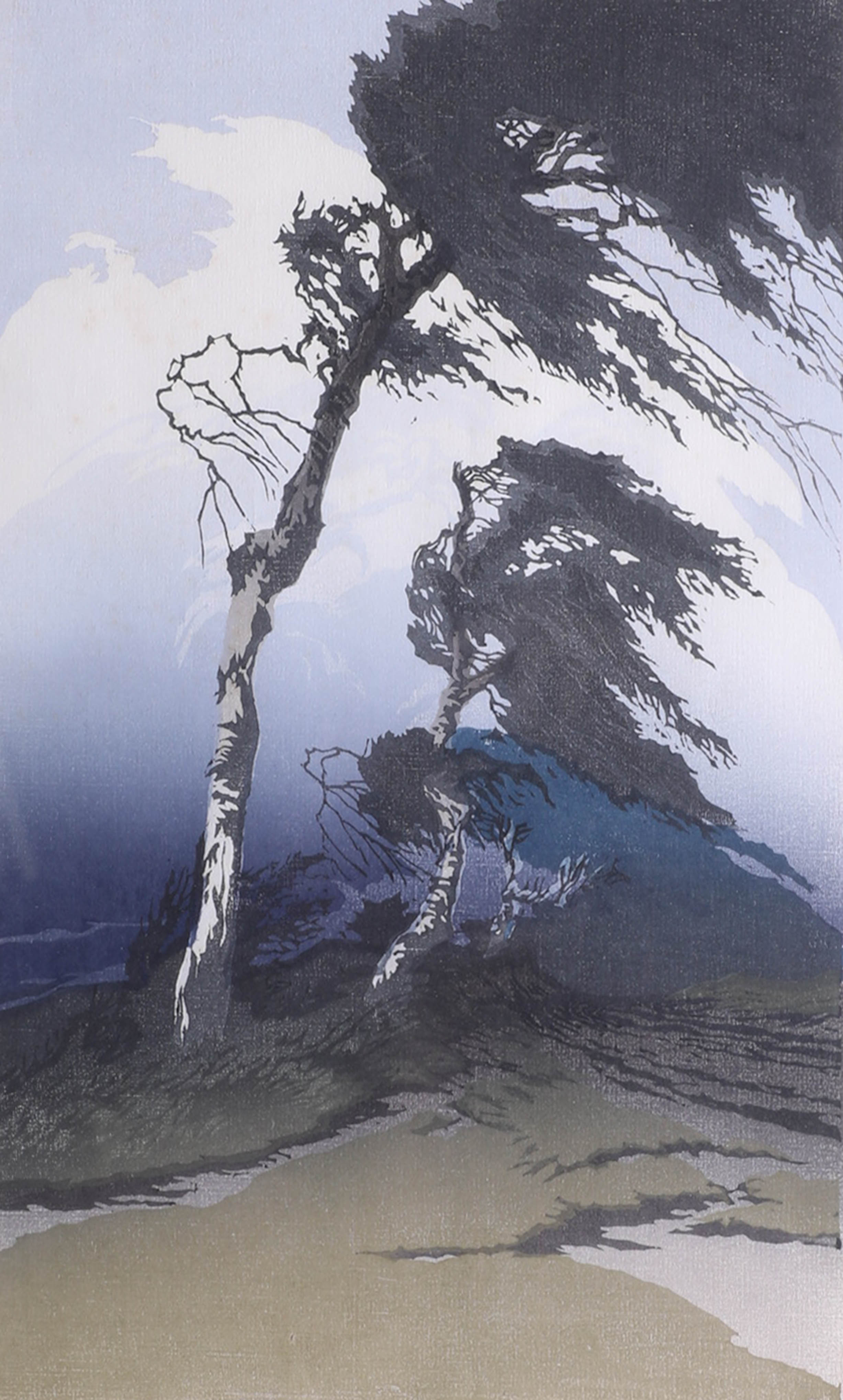 Lot 045 - Oscar Droege (1898-1982 German), signed woodcut print 'Birch Trees in a Storm' image size 40cm x