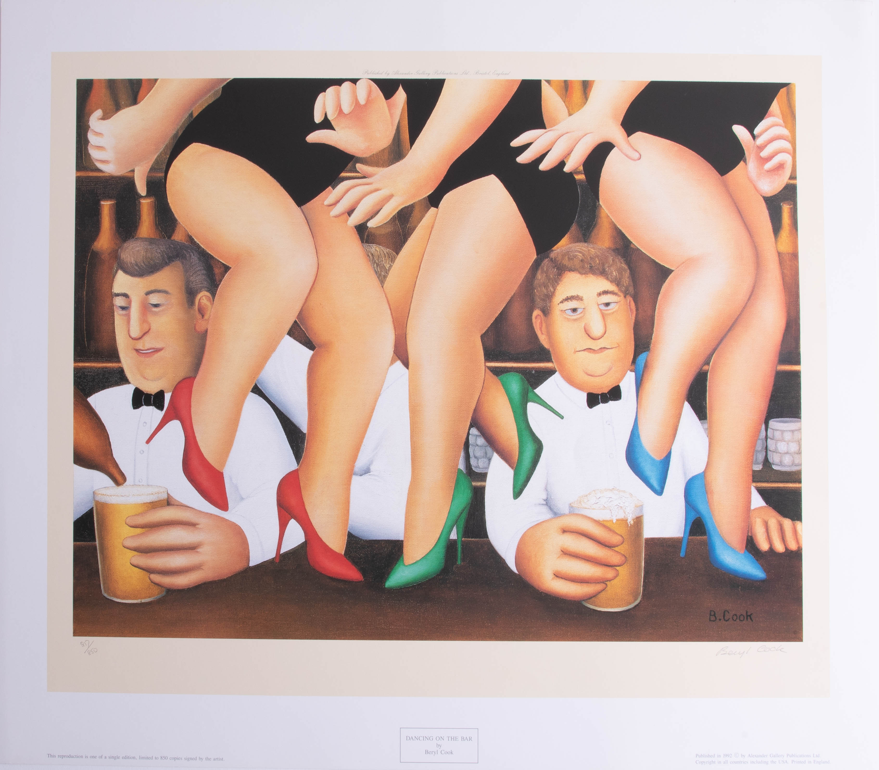 Lot 030 - Beryl Cook (1926-2008), 'Dancing on the Bar' signed limited edition print, No 217/850, published