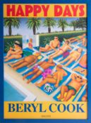 Beryl Cook (1921-2008), 'Happy Days' poster on board, issued for the publication of her book Happy