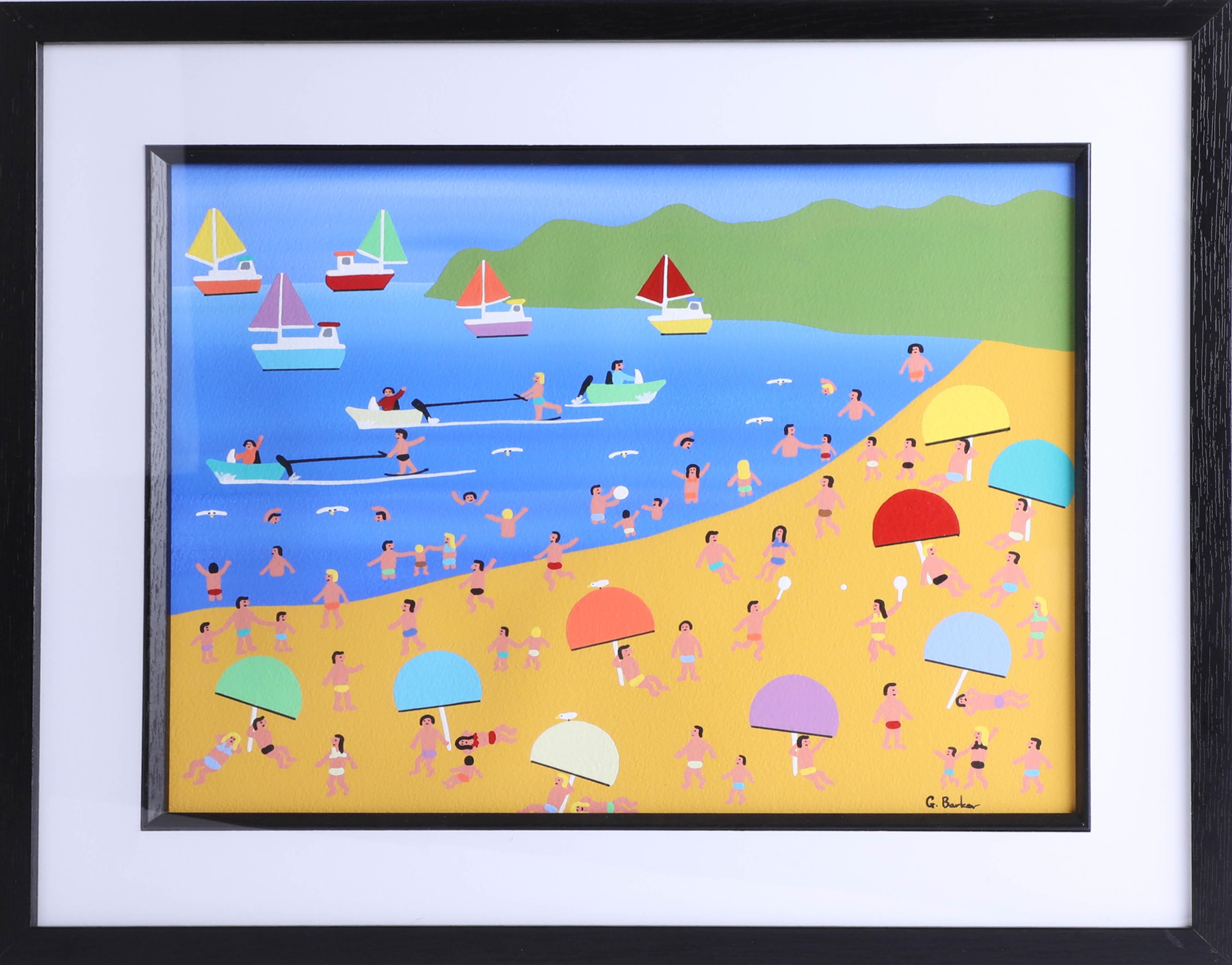 Lot 037 - Gordon Barker, acrylic on paper 'Seaside Holidays', 29cm x 38cm, framed. Gordon Barker is a