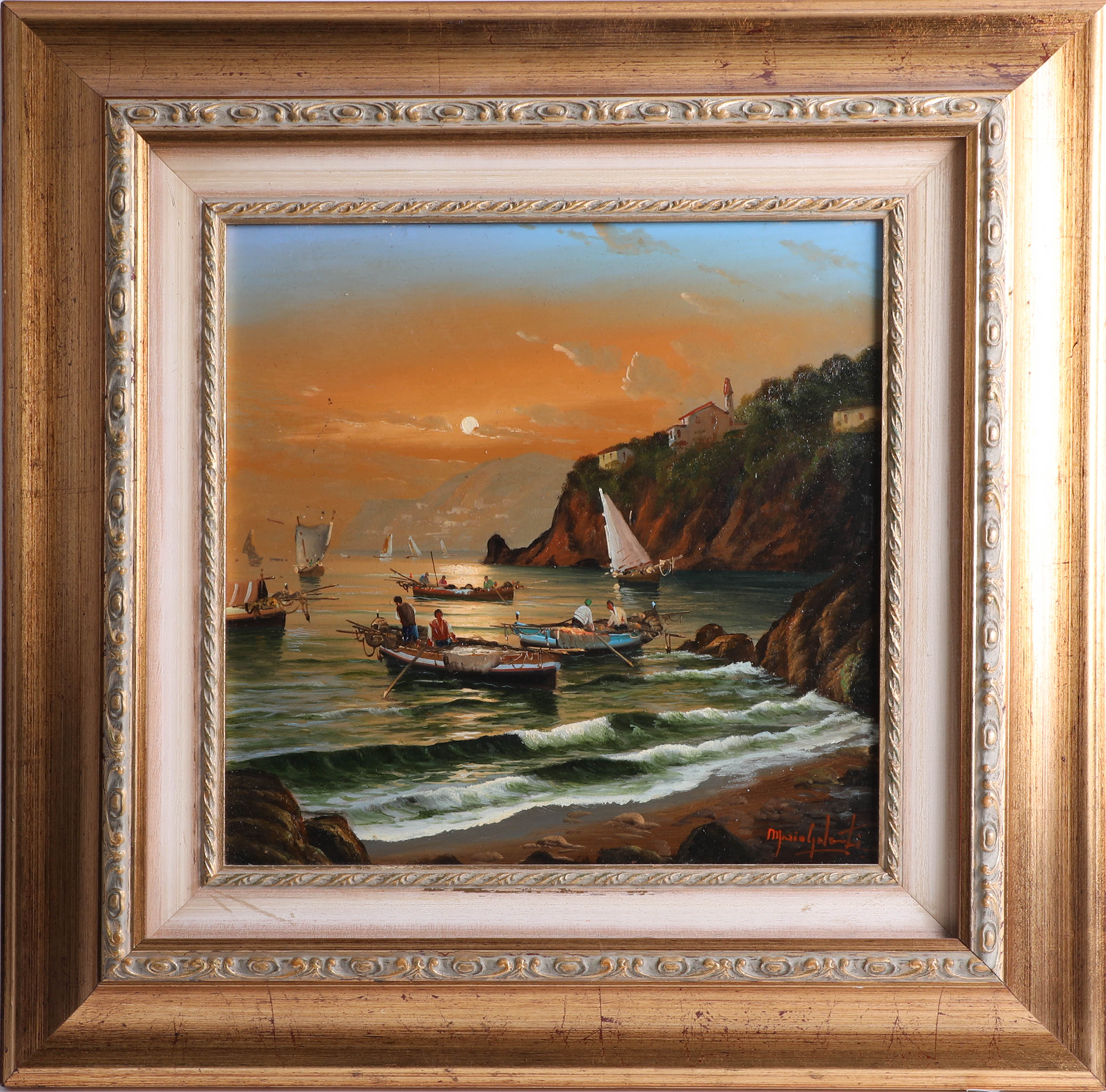 Lot 014 - Mario Galanti (1923-1998, Italian) signed oil on board, 'Fishing boats' framed, 30cm x 30cm.