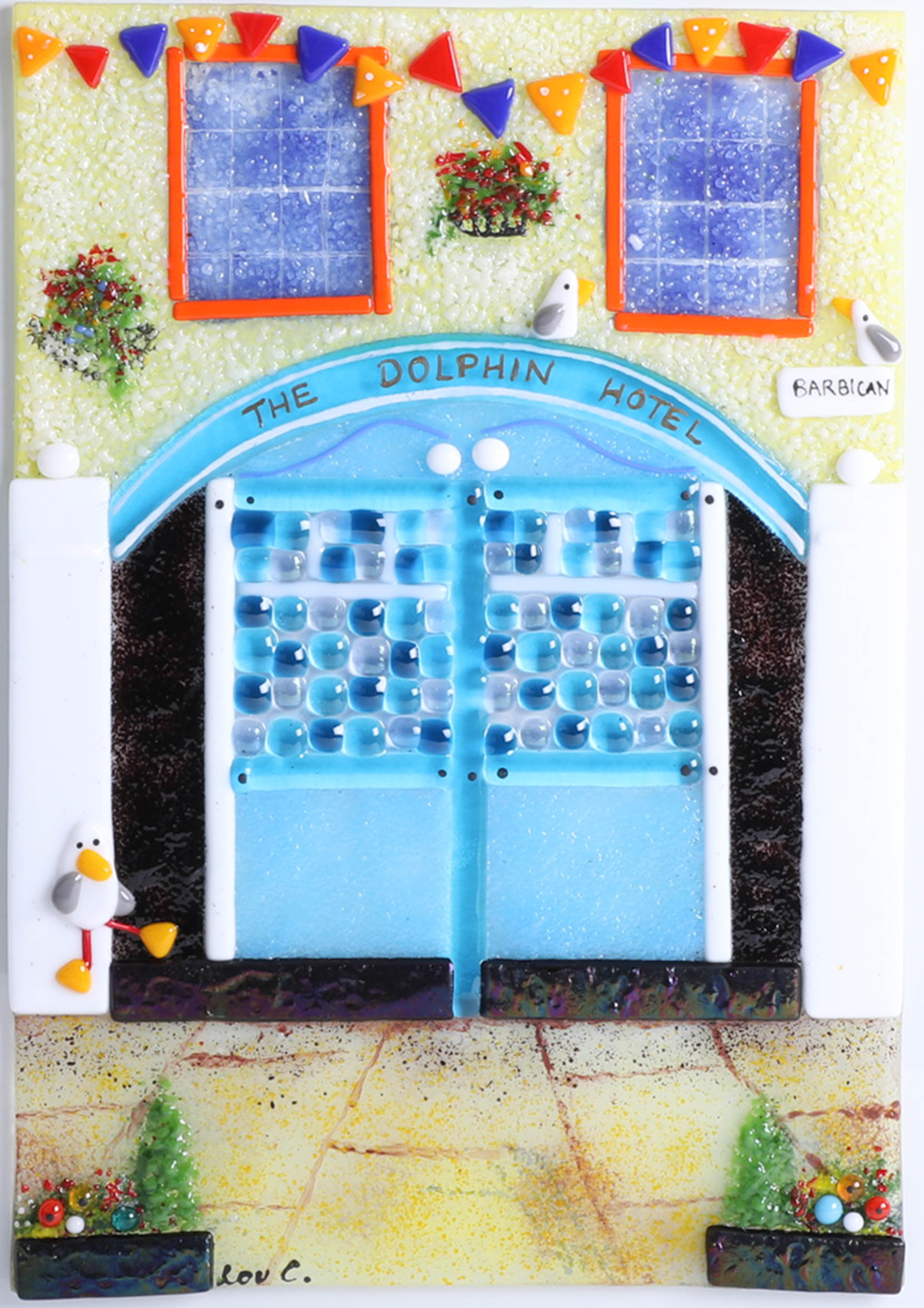 Lot 003 - Lou from Lou C fused glass, original glass work, titled 'The Dolphin Pub, signed, 30cm x 21cm.