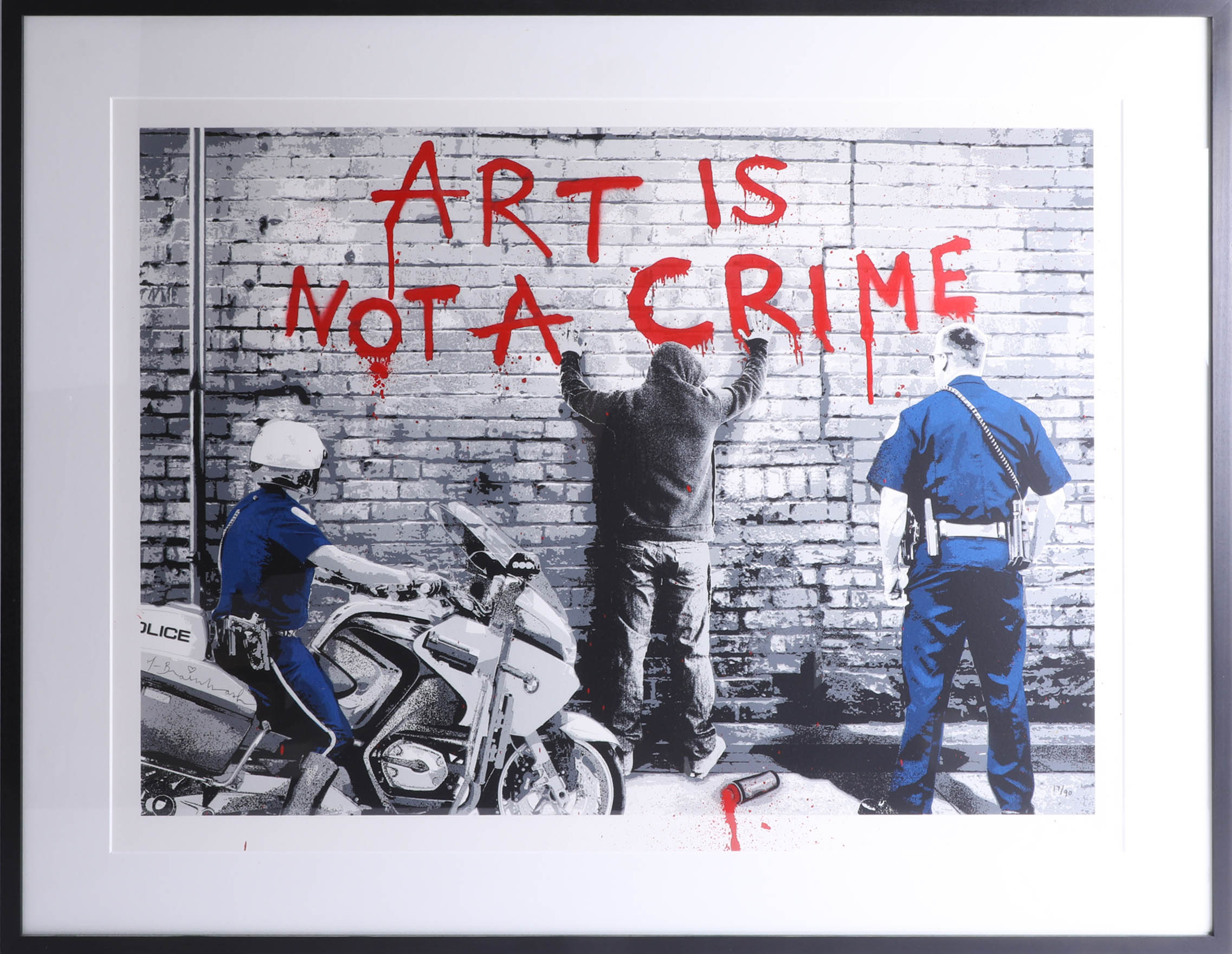 Lot 010 - Mr Brainwash, signed edition print, NYC, 'Art is not a Crime', No. 17/90, 55cm x 74cm, framed and