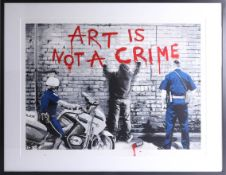 Mr Brainwash, signed edition print, NYC, 'Art is not a Crime', No. 17/90, 55cm x 74cm, framed and