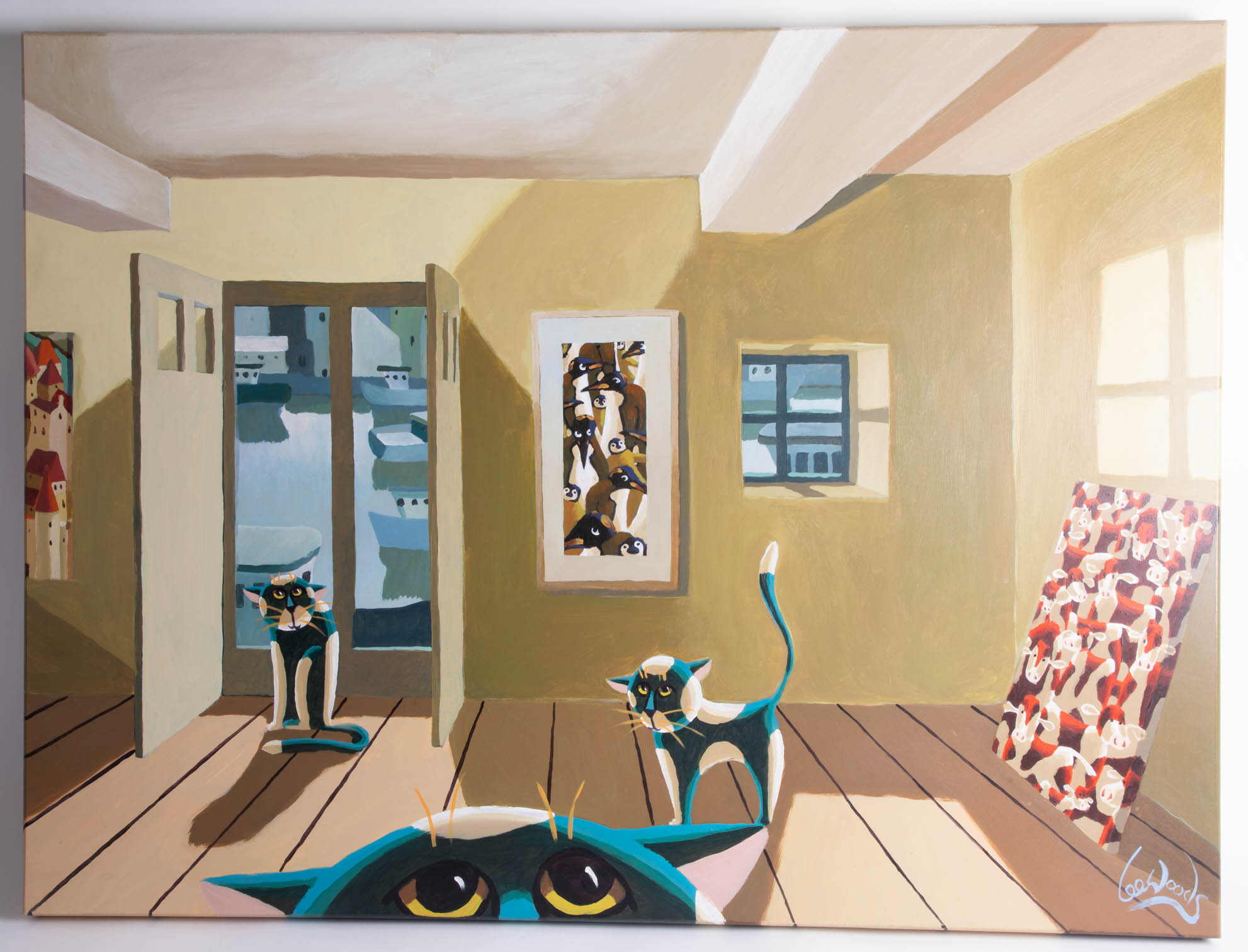 Lot 024 - Lee Woods (b1964-) original oil on boards 'Cats in the Studio', signed, 75cm x 100cm.