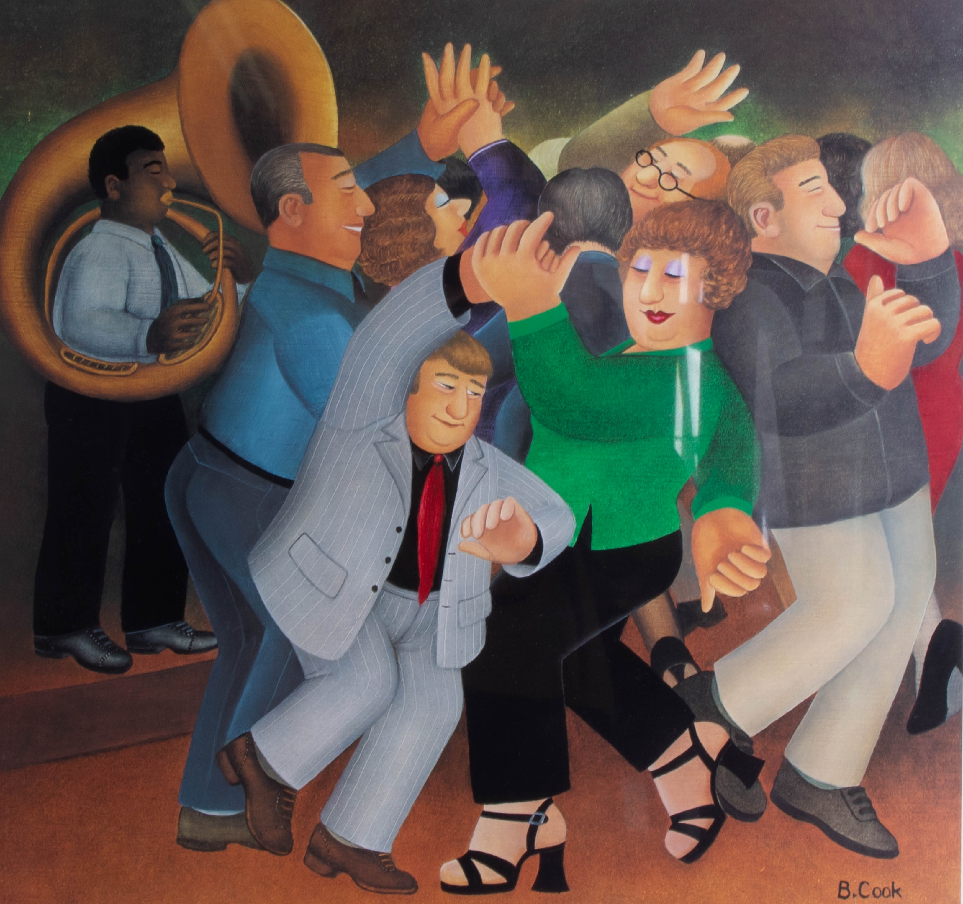 Lot 031 - Beryl Cook (1926-2008), 'Jiving to Jazz' signed limited edition print, No 332/650, published by
