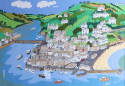 Richard Lodey, 'Looe', arcylic / gouache on board. This painting has come directly from