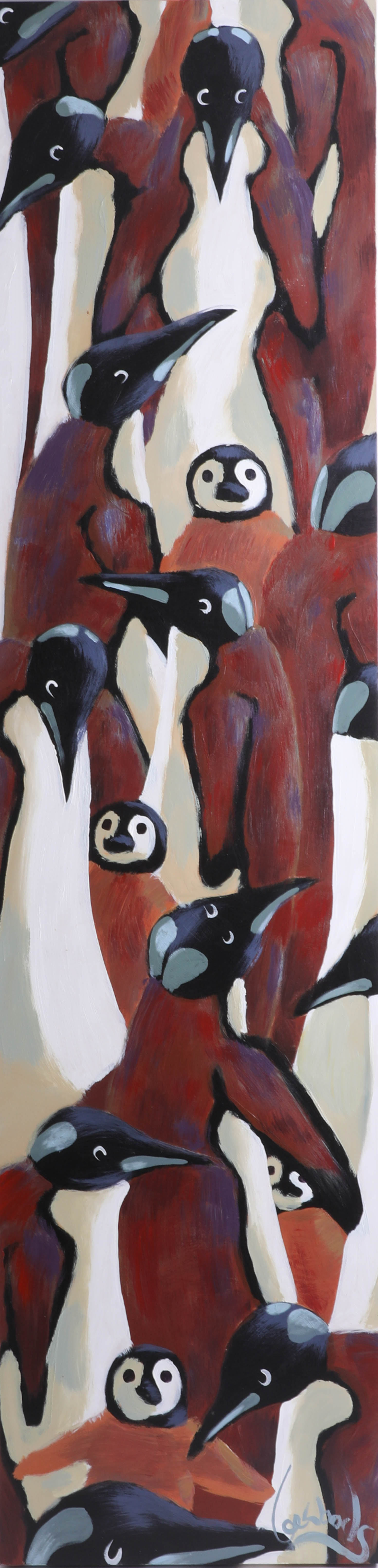 Lot 004 - Lee Woods, acrylic on wrap around board, 30cm by 122cm, Brown Penguins - Genetic Animals Series.