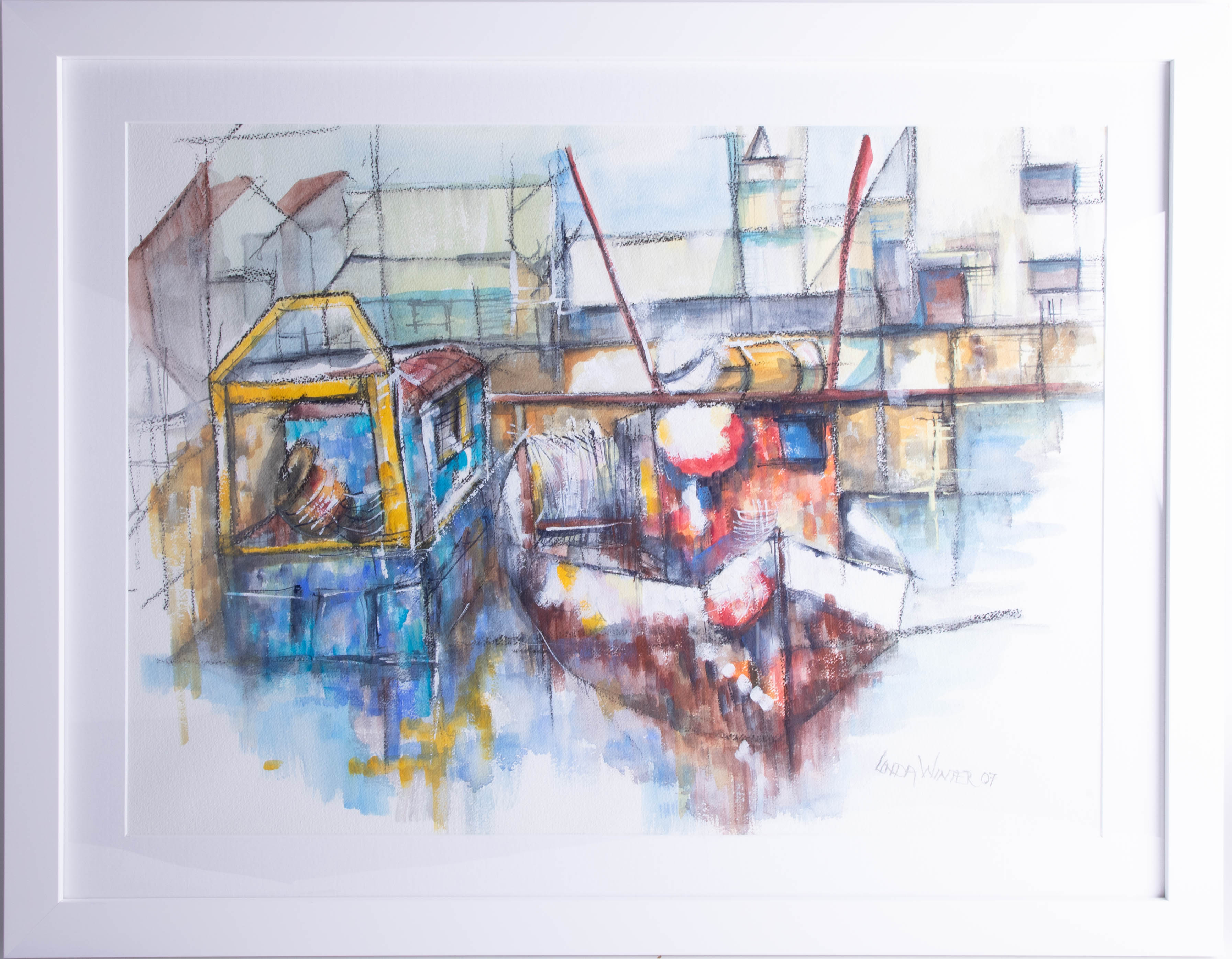 Lot 043 - Linda Winter, watercolour 'Boats tied up on Plymouth Barbican 2007', framed and glazed, 70cm x