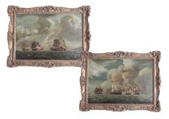 A pair of naval battle paintings, oil on canvas, not signed, 20th Century, ornate gold frame, 23cm x
