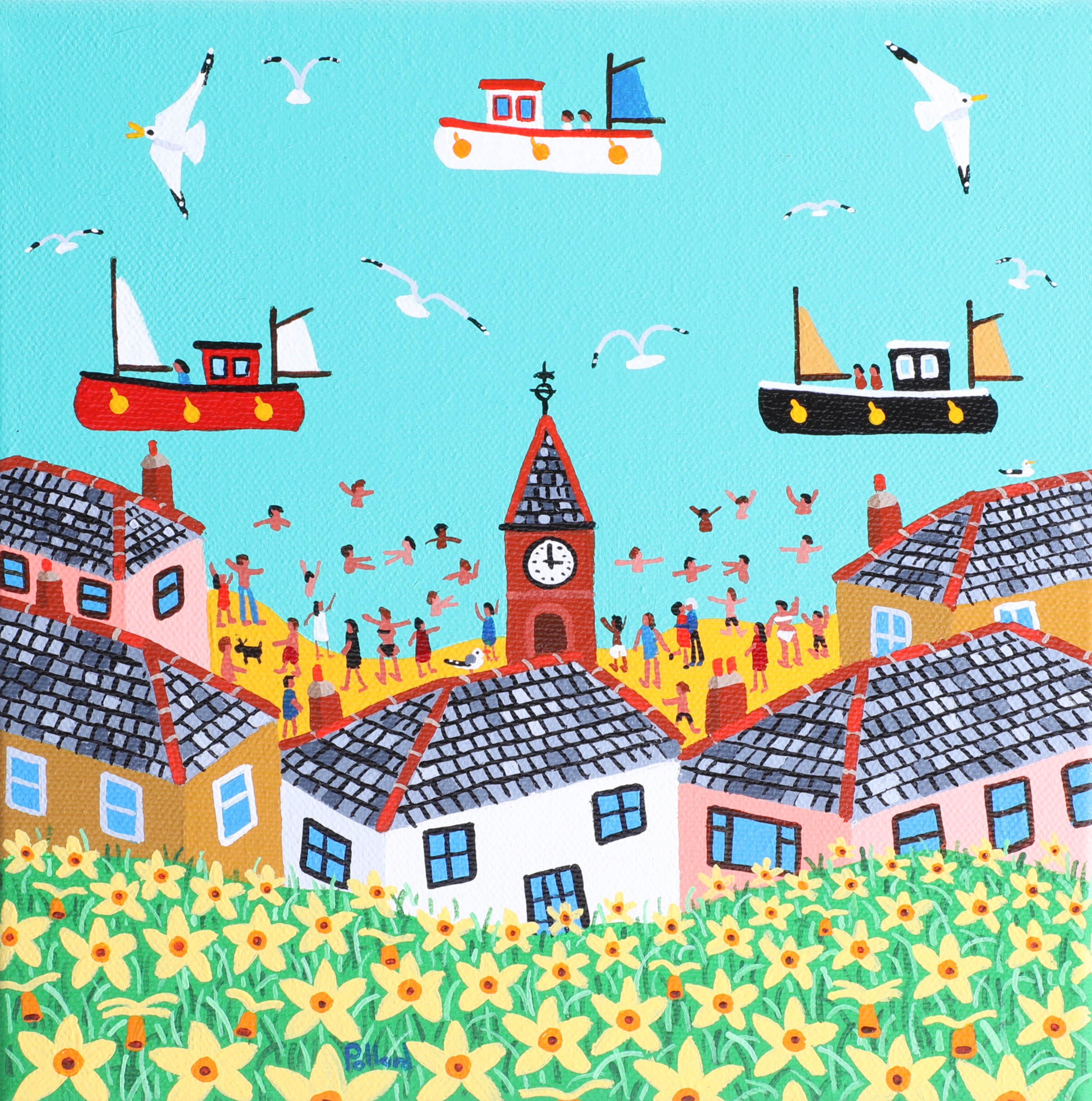 Lot 021 - Brian Pollard, acrylic on canvas, 'Springtime, Kingsand', signed, 20cm x 20cm. Brian Pollard is