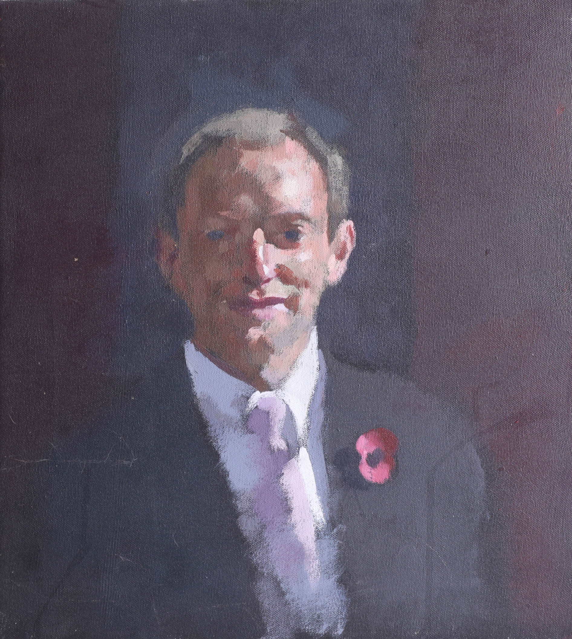 Lot 041 - Louise Courtnell, oil on canvas, portrait of 'Justin Leigh, children in need' 11/1/05, BBC Spotlight