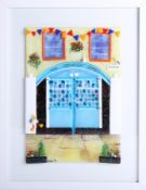 Lou from Lou C fused glass, original glass work, titled 'The Dolphin Pub, signed, 30cm x 21cm.