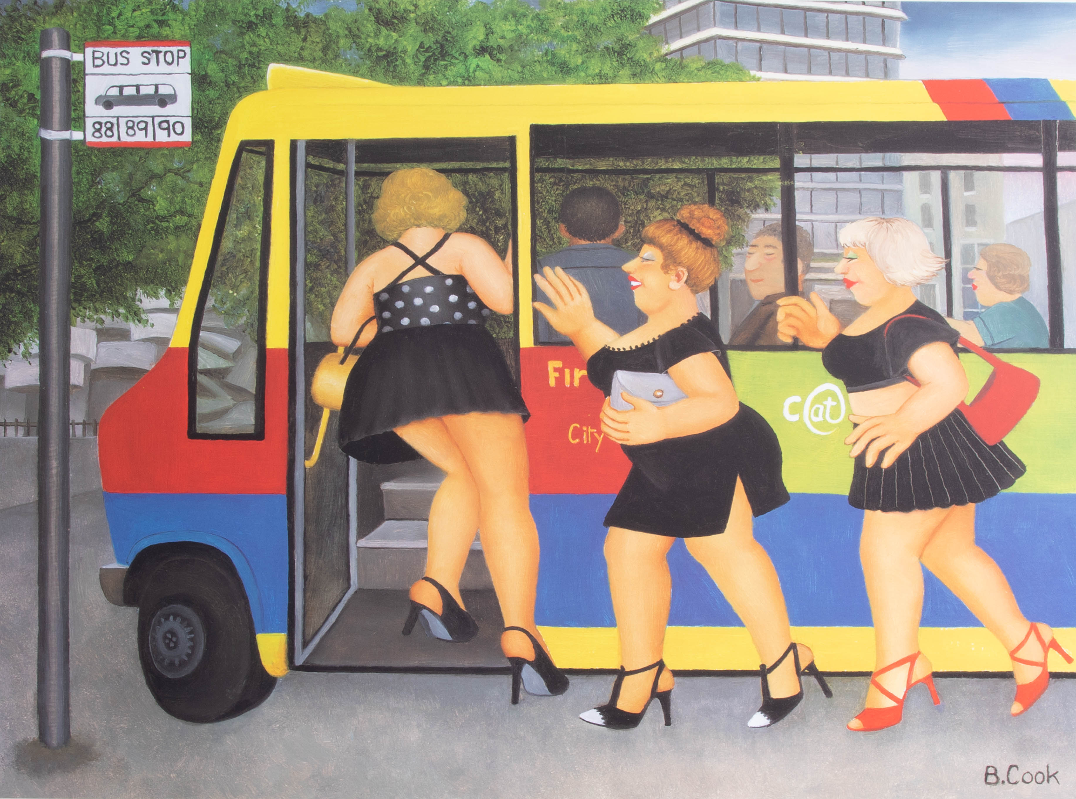 Lot 025 - Beryl Cook (1926-2008), 'Bus Stop', edition of 650, published by Alexander Gallery, 58cm x 67cm,