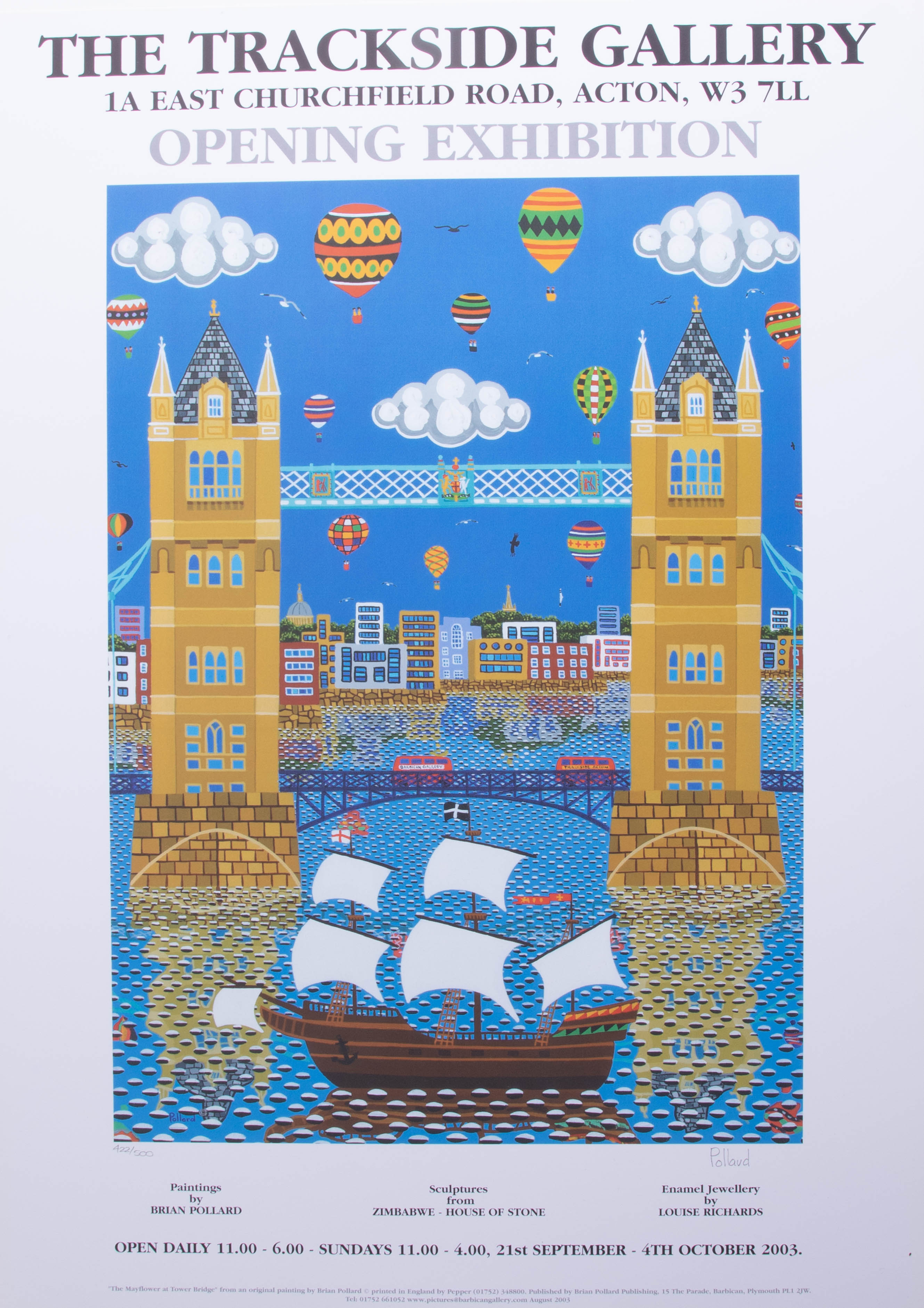 Lot 017 - Brian Pollard, signed limited edition poster No 422/500, London Bridge, not framed, 59cm x 43cm.