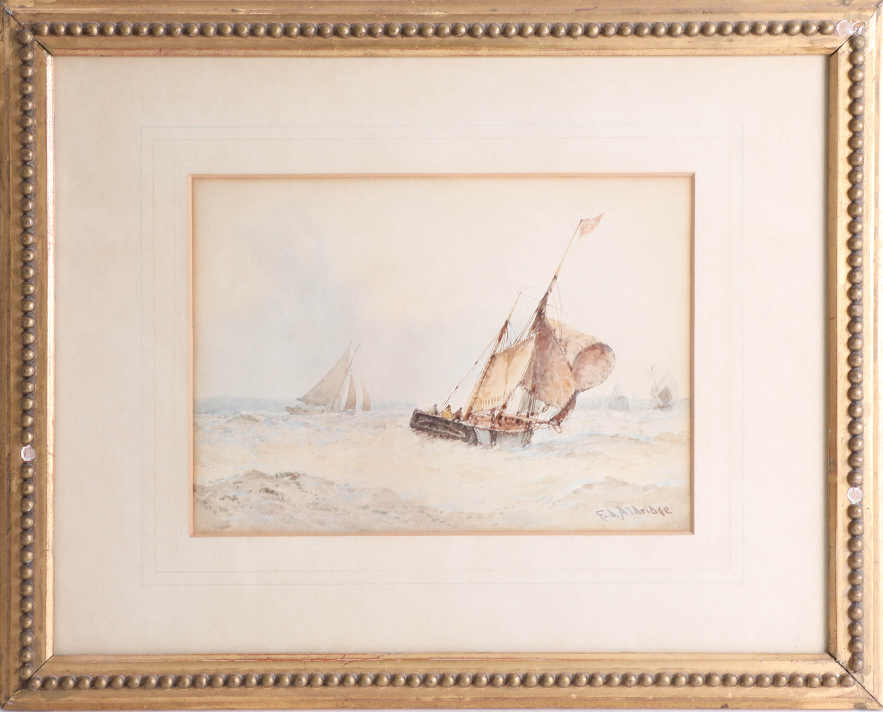 Lot 040 - F.J. Aldridge (1850-1933) 19th/20th century signed marine watercolour, 19cm x 26cm together with