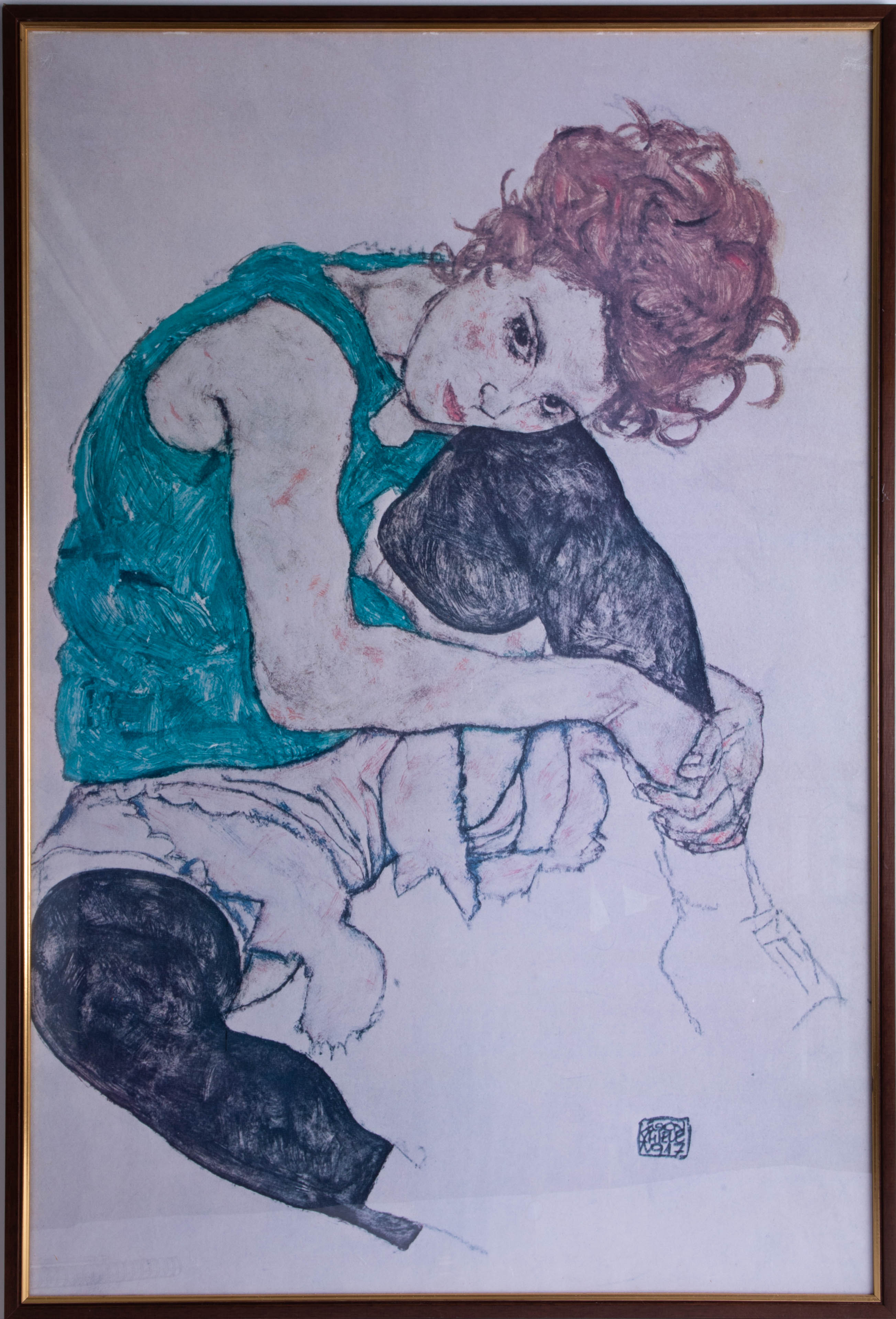 Lot 044 - Egon Schiele (1890-1918), 'Sitting Women' (Adele Herms) print, the original is in the National