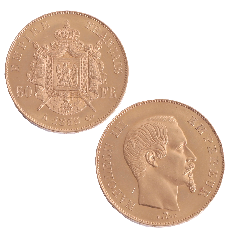 Lot 044 - France, 1855 Napoleon III gold 50 Francs.