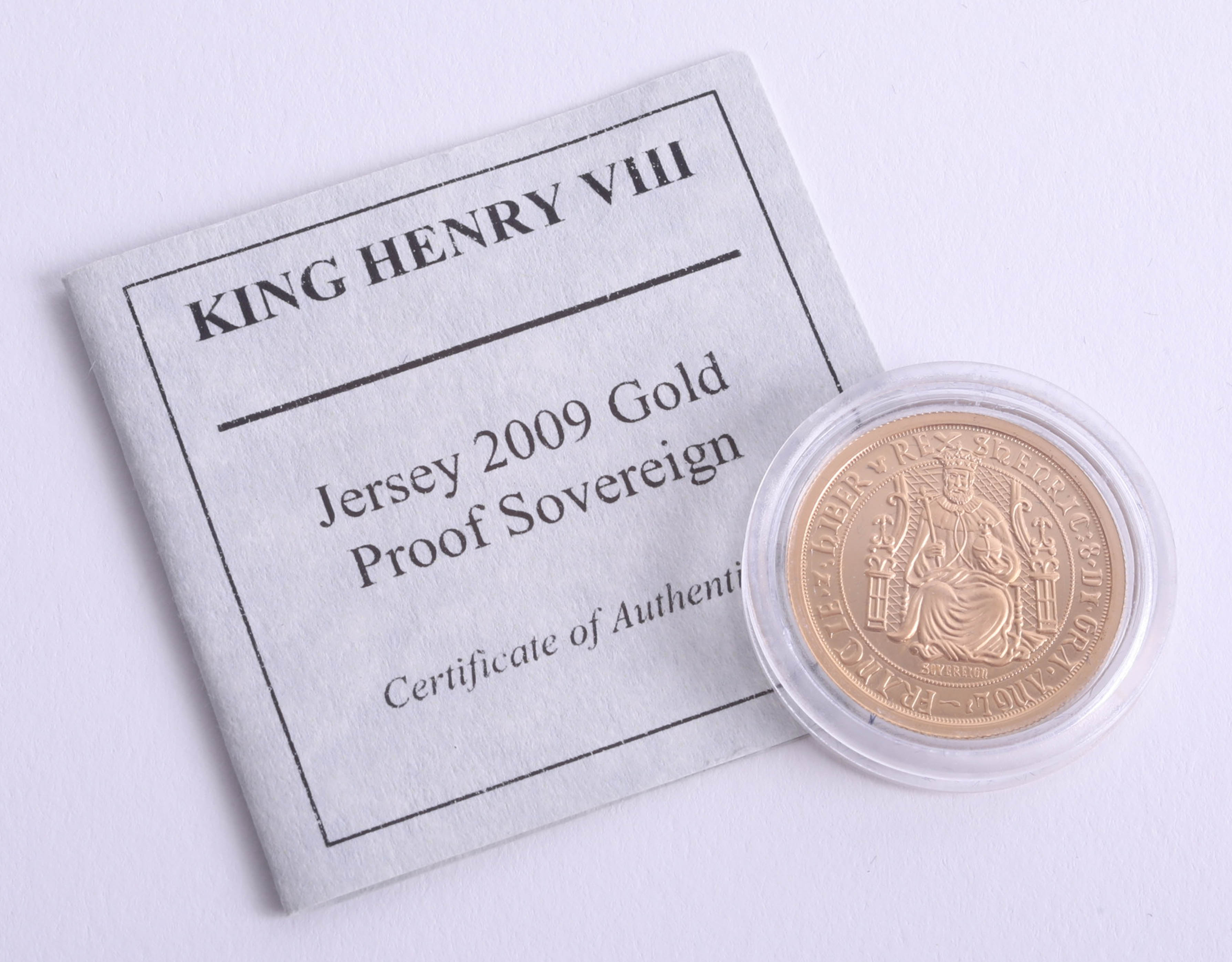 Lot 026 - Westminster Mint, Jersey 2009 gold proof sovereign, King Henry VIII, boxed with certificate.