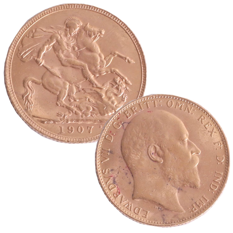 Lot 014 - Edward VII 1907 gold sovereign.
