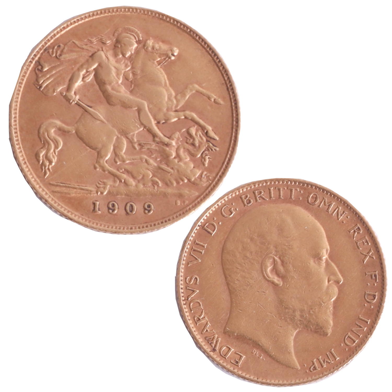 Lot 037 - Edward VII 1909 half sovereign.