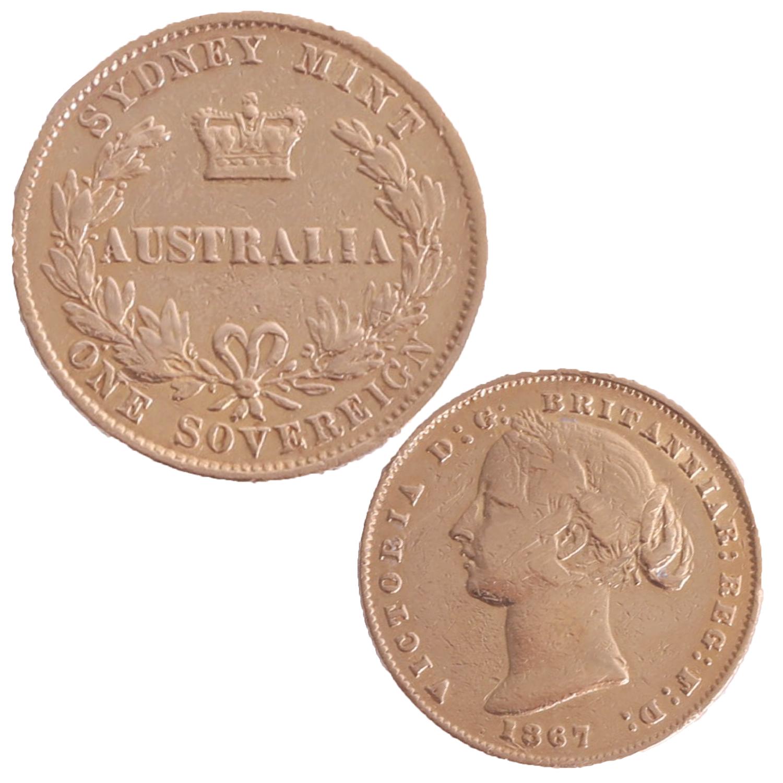 Lot 001 - Victoria 1867 gold sovereign, Sydney Mint marked Australia.