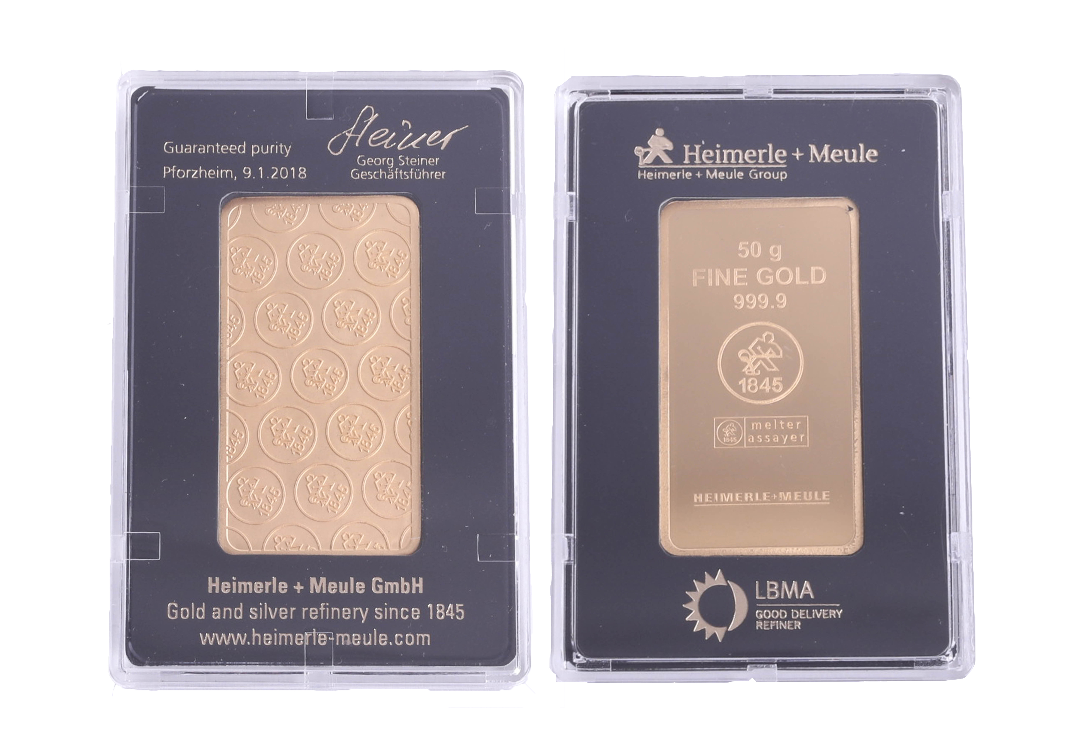 Lot 045 - Gold, a 50g bar of fine gold, 999.9, cased by Heuer, guarantee date 9th January 2018.