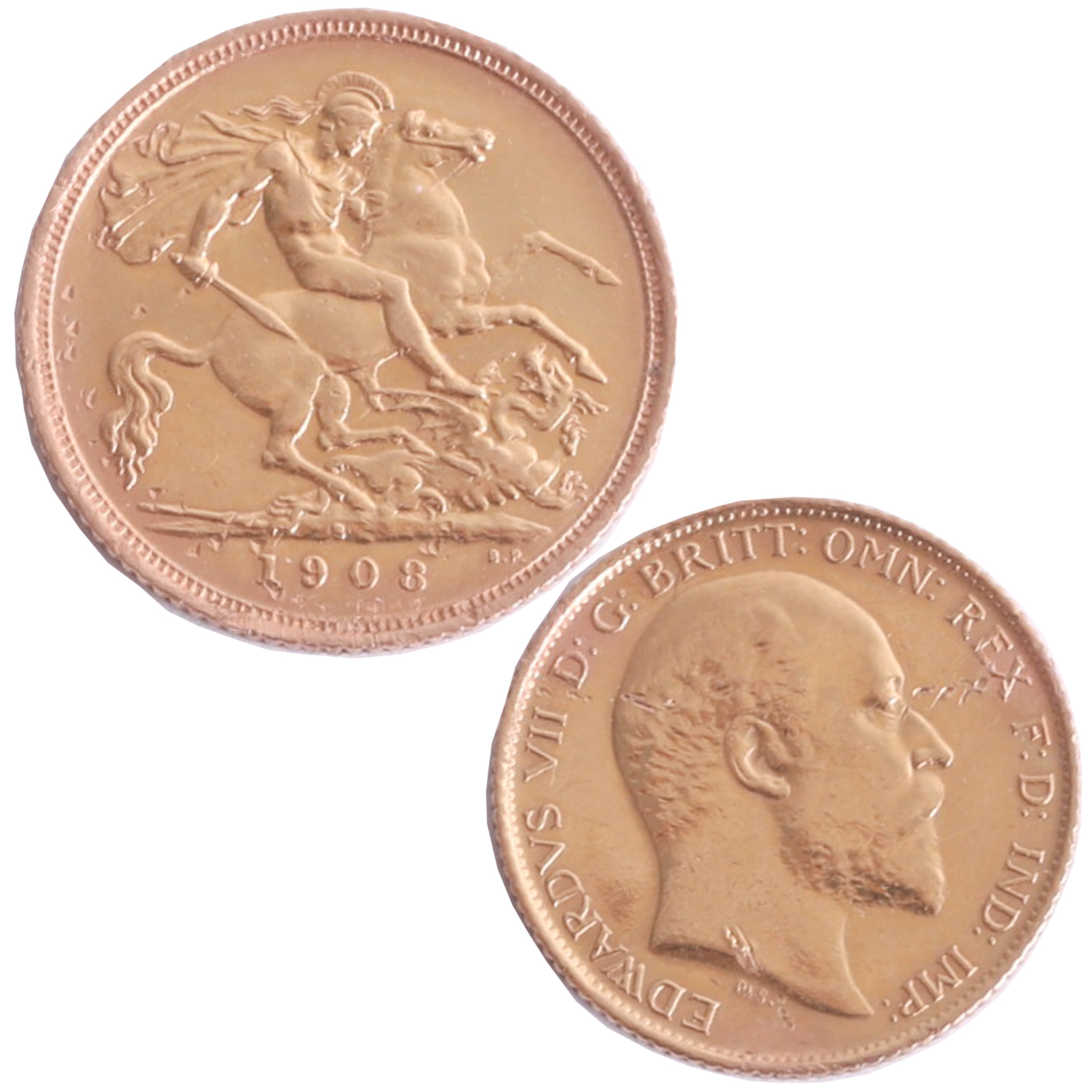 Lot 036 - Edward VII 1908, half sovereign.