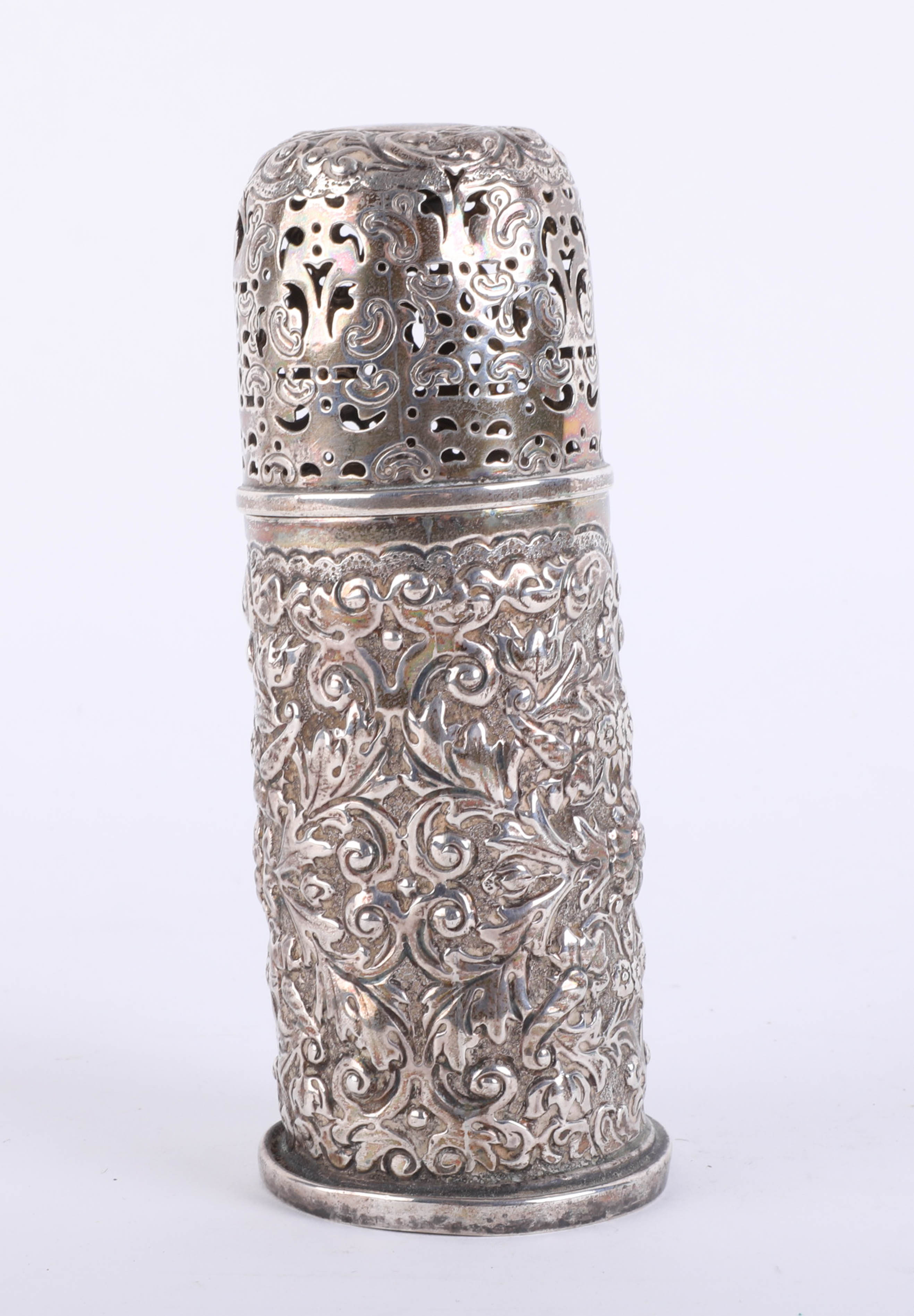 Lot 008 - An antique silver sugar caster with pierced fancy