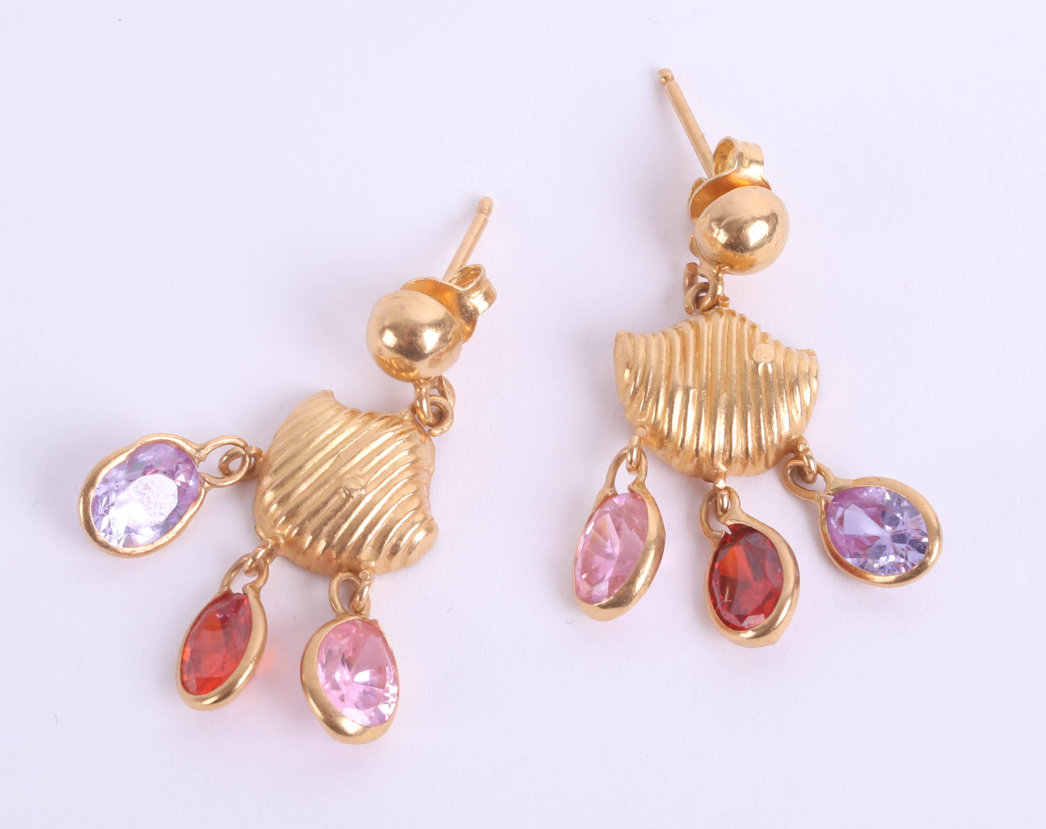 Lot 043 - A pair of high carat yellow gold and gemstone set Khalifa earrings, middle eastern marks.