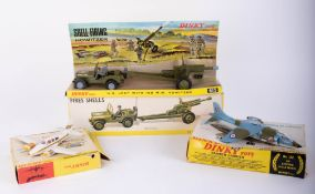 Dinky Toys, Hawker Harrier 722, US Jeep with Howitzer 615, Beechcraft Baron 715 (3).