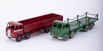 Dinky Super Toys, Foden Green Flatbed Lorry with Chains and another Foden flatbed (2).