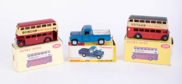 Dinky Toys, Land Rover 344 and two Dunlop Double Decker Buses, replica boxes (3).
