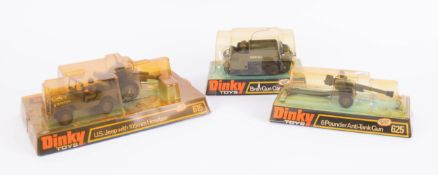 Dinky Toys, 615 US Jeep with Howitzer, 622 Bren Gun, 625 Anti-tank gun, boxed (3).