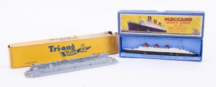 Dinky Toys, Cunard Queen Mary No. 52 and Triang Ships Floating Dock, boxed (2).