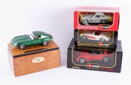Burago, Jaguar E Coupe 1961, together with three scale Burago models, boxed (4).