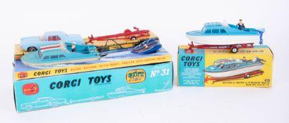 Corgi Toys, Dolphin Cruiser on Trailer 104, Gift Set no. 31, boxed (2).