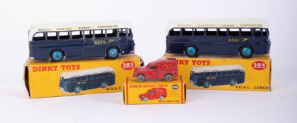Dinky Toys, Two BOAC Coaches 283, Dublo Dinky Royal Mail Van 068, boxed (3).