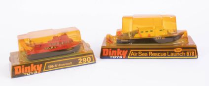 Dinky Toys, air sea rescue launch 678, srn hoover craft 290, boxed (2).