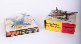 Dinky Toys, RAF Dominie 728, Battle of Britain Spitfire MkII 719, (2).