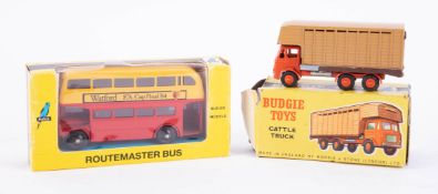Budgie Toys, Cattle Truck and Routemaster Bus 706, boxed (2).
