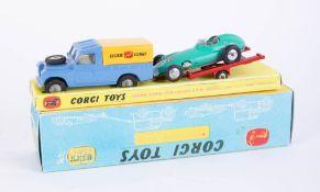 Corgi Toys, rare Gift Set no. 17 Ecurie Corgi Land Rover BRM Racing Car and Trailer, (light green