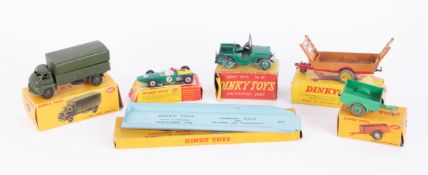 Dinky Toys, Army Wagon 621, Land Rover Trailer 341, Jeep 405, Racing Car 243, Harvest Trailer 320,