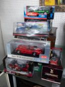 A collection of large scale models including Sun Star 1/18 scale Jaguar, other Jaguars including